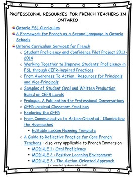 Professional Resources for FSL Teachers in Ontario
