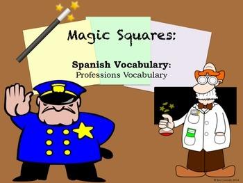 Professions Vocabulary Spanish Magic Squares Activity Puzzle