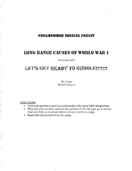 Programmed Reading- Causes of World War I