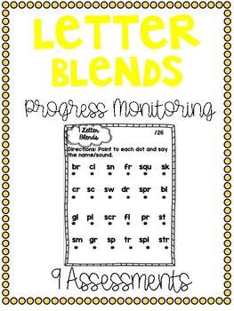 Progress Monitoring Letter Blends Assessments {9 Assessments}