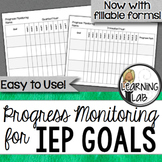 Special Education Progress Monitoring for IEP Goals - EDITABLE
