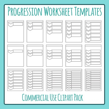 Progression Worksheet Templates Clip Art for Commercial Use
