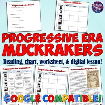 progressive era muckrakers chart and worksheet by students of history teachers pay teachers. Black Bedroom Furniture Sets. Home Design Ideas
