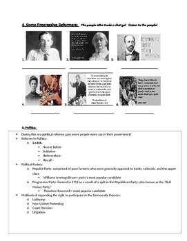 Progressive Era Picture Notes (with Key) Part 2 of 4