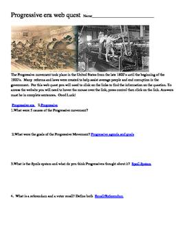 Progressive Era Webquest