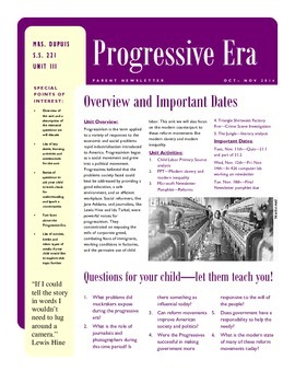 Progressive Era newsletter