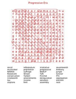 Progressive Era word search  Key