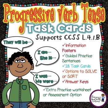 Progressive Verb Tense Task Cards {CCSS L.4.1.B}