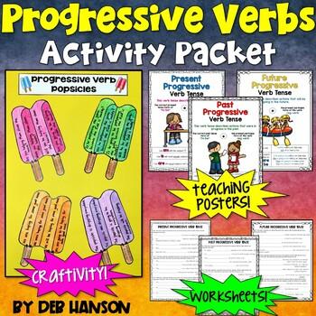 Progressive Verbs: Worksheets, Craftivity, & Posters