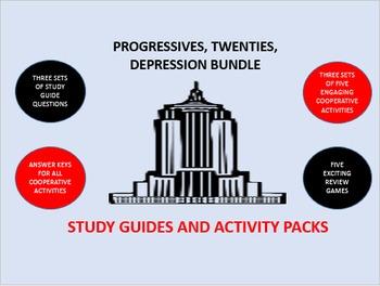 Progressives, Twenties, Depression Bundle: Study Guides an