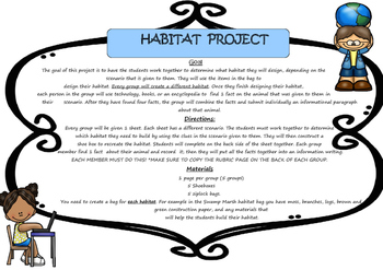 Habitats:  Project Based Learning Activity *FREEBIE* (Blac