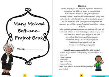 Mary McLeod Bethune: Project Based Learning Activity (Blac
