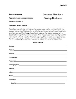Project Learning / Start a business / Business Plan / Math