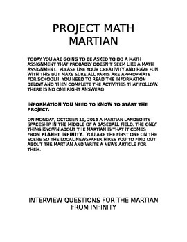 Project Math Martian Creative Math Writing