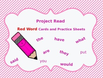 Project Read Red Word Cards and Practice Worksheets