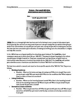 Project – The Lowell Mill Girls Advertisement and/or Brochure