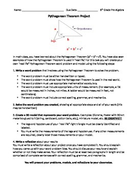Project and Rubric - Real World Math (The Pythagorean Theorem)
