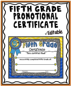 Promotional Certificate: Fifth Grade 2