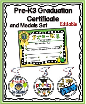Promotional Certificate and Medals: Pre-K3