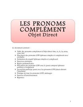 Pronoms Complément d'objet direct (COD)
