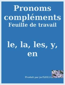 Pronoms compléments Le La Les Y En pronouns worksheet