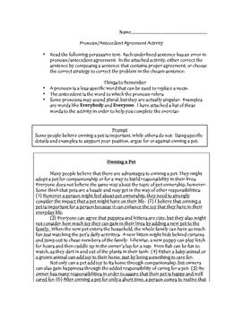 Pronoun Antecedent Correction Activity