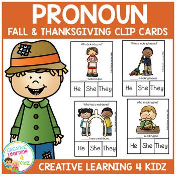 Pronoun Clip Cards: Fall & Thanksgiving