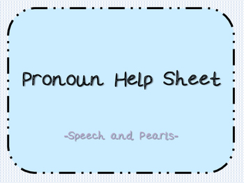 Pronoun Help Sheets FREEBIE