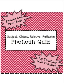 Pronoun Quiz: Subject, Object, Relative, and Reflexive Pro