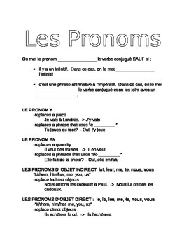 Pronoun Review Handout : Y, EN, Direct, Indirect