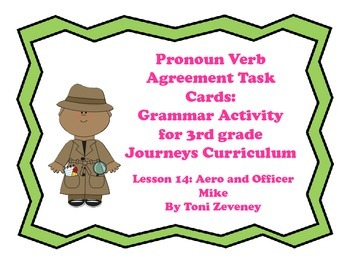 Pronoun Verb Agreement Task Cards for Journeys 3rd Grade