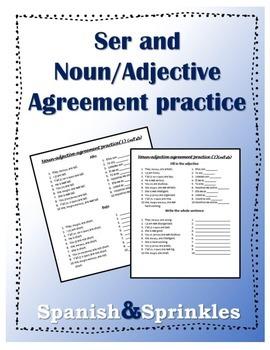 Pronoun, ser, and noun/adjective agreement practice