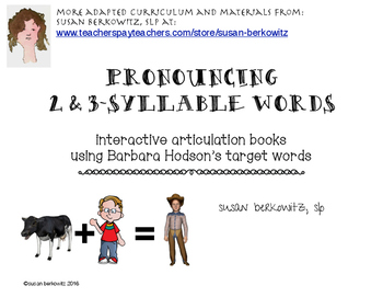 Pronouncing 2 and 3 Syllable Words Interactive Books