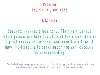 Pronouns- 5 Corners and Task Cards It's a DUO!