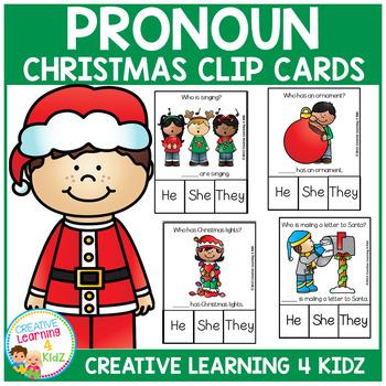 Pronoun Clip Cards: Christmas