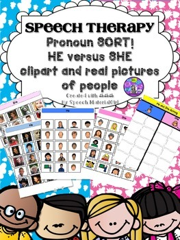 Speech Therapy pronouns He She Sorting Activity Boardmaker Autism