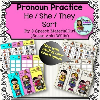 Speech Therapy Pronouns He She They Sorting Activity Board