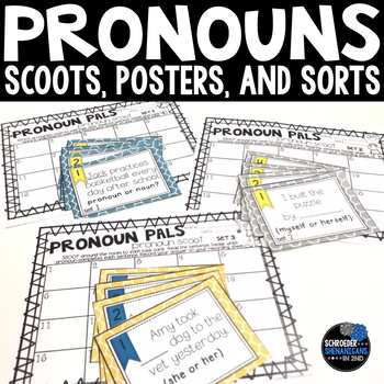 Pronoun activities, task cards, and flip flap resources