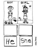 Pronouns Worksheet He / She - Grammar