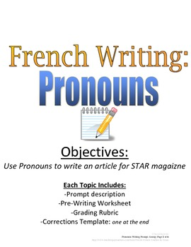 Pronouns Writing Prompt for French Students with Rubric, V