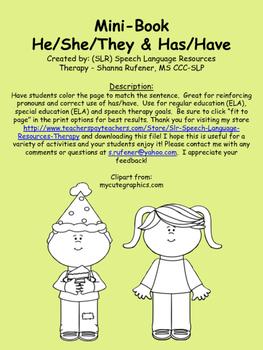 Pronouns and Has/Have Mini-Book