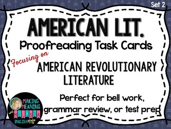 Proofreading Task Cards - American Lit Set 2, Revoltionary
