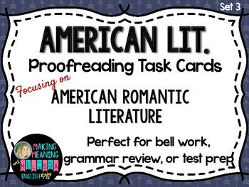 Proofreading Task Cards - American Lit Set 3, American Rom