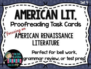 Proofreading Task Cards - American Lit Set 4, American Ren