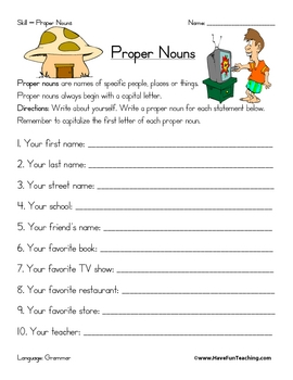 Printables Proper Nouns Worksheet proper noun worksheet by have fun teaching teachers pay worksheet