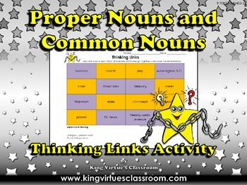 Proper Nouns and Common Nouns Thinking Links Activity #1 -