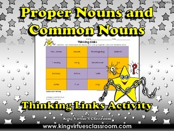 Proper Nouns and Common Nouns Thinking Links Activity #2 -
