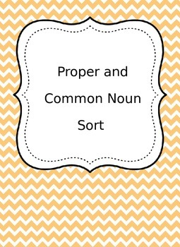 Proper and Common nouns word sort