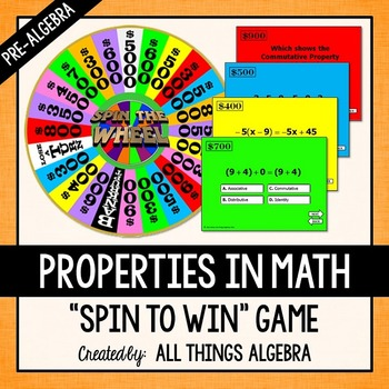 Properties in Math Spin to Win Game (Pre-Algebra Version)