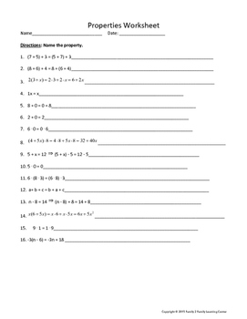 Properties Worksheet